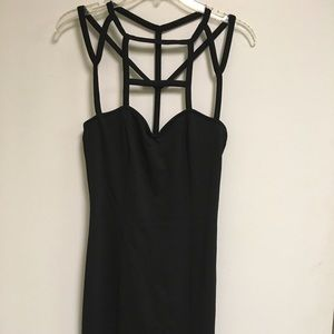 """Black """"caged"""" bustier style mini dress"""
